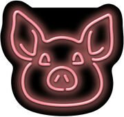 Pig Face Neon Sign | Jantec | 24 X 18 | Farm Animal Barbecue Bbq Bacon Grill