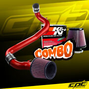 For 98-02 Chevy Cavalier 2.2l Red Cold Air Intake + Kandn Air Filter