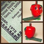 Vintage 1972 Barns Corp Hooandrsquos Apple Boy Fruit Candy Powder Container Rosen