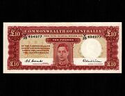 Australia 10 Pounds 1952 P-28d Unc Very Small Stain Up Border King George