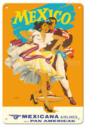 Mexico - Mexicana Airlines - Wright 1950s Vintage Travel Poster Metal Tin Sign