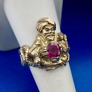 Magnificent Art Deco 14k Yellow Gold Ruby Indian Snake Charmer Cocktail Ring