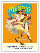Mexico - Mexicana Airlines - Dancers - Wright 1950s Vintage Travel Poster Print