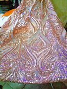 Classical Embroideried Sequins Mesh Lace Fabric 51and039and039 Wide Sold By The Yard Shiny