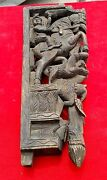 Old Early Rare Beautiful Hand Carved Mughal Wooden Door Panel With Multiple Fig.