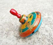 Vintage Rare Mechanical Wooden Handle Spinning Top Tin Toy Us Zone Germany