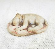 1920s Vintage Handmade And Painted Marble Stone Sleeping Lion Statue Paper Weight