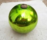 1920s Vintage 6 Parrot Green Glass Heavy Christmas Kugel/ornament Germany