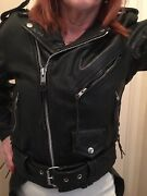 Womans Black Leather Motorcycle Riding Jacket Rg+ Chaps Boss