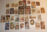 32 Christmas Themed Holy Cards Vintage And Contemporary 2 Post Card Size Veryclean