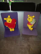 Extremely Rare Walt Disney Winnie The Pooh In Love Figurine Bookends Statue Set
