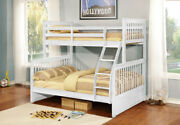 Bunk Bed Dubble Twin Over Full Wood Bedroom Furniture Kids Bunkbed Ladder White