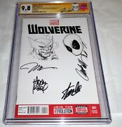 Wolverine 1 Signed And Sketched Deadpool Chris Claremont Stan Lee Stegman Jim Pow