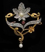 Exceptional French 18k Gold Platinum Diamond And Natural Pearl Flower Brooch