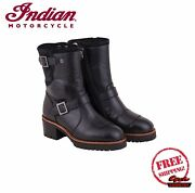 Genuine Indian Motorcycle Womenand039s Short Engineer Boots Black New Scout Chief