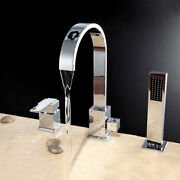Modern Waterfall Roman Tub Faucet Deck Mount Bath Tap With Hand Shower In Chrome