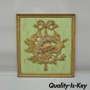 Italian Regency Hand Carved Wood Coat Of Arms Green Wall Plaque Art Frame Panel
