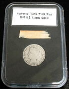 Authentic Rms Titanic Wreck Wood Relic And 1912 Liberty Nickel Artifact With Coa