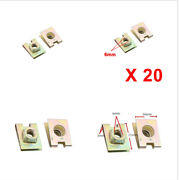20pcs Copper Tone Metal Spring U-type Plate Speed Nut Clips M6 6mm For Car Suv