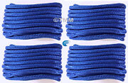 4 Blue Double Braided 1/2 X 15and039 Hq Boat Marine Dock Lines Mooring Rope Cord