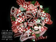 Decorated Christmas Wreath Sweet Treat Door Wreath Lights Red White Silver Candy