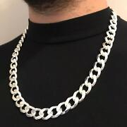 28 Inch Boys Mens Hip Hop Cuban Chain Necklace 925 Sterling Silver 189gr 14mm