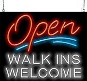 Open With Walk Ins Welcome Neon Sign | Jantec | 2 Sizes | On Wait Salon Spa Cafe