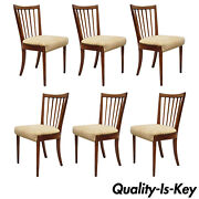 6 Vtg Mid Century Modern Cherry Spindle Back Dining Chairs By Paramount Furn.