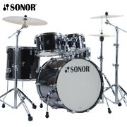 New Sonor Aq2 Series 5 Piece 22 Stage Drum Set Shell Pack Transparent Black