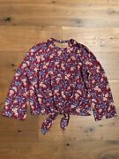 Auth Madewell Bell-sleeve Tie Top In Antique Flora Xxs 88 Nwt