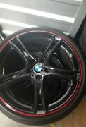 Bmw Wheels And Tires Style 361 F32 F30 E90 F82 E92 Black With Red Stripe