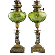 Oil Lamps, 19th C., French Champlevé And Art Gla, Pair, Lovely Antiques
