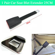 2x 25cm Car Seat Belt Safety High Strength Extender Extension Strap Buckle Clips