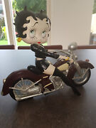 Extremely Rare Betty Boop Sexy Girl In Black Leather On Motorcycle Fig Statue