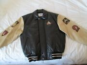 New W/ Tags Disney 50th Anniversary Leather Bomber Letterman Jacket Sm Free Ship