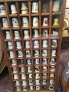 Revolving Dome Thimble Display Case Display Cases With 60 And 24 Thimbles.