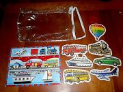 Wooden Puzzle And Sewing Card Toy Cars Trucks Boats Trains Toddler Preschool Euc