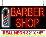 Barber Shop With Pole Neon Sign   Jantec   32 X 16   Haircuts Retro Shave Spa