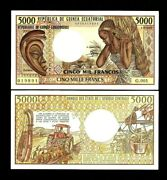 Equatorial Guinea 5000 5000 Francs P-22 A 1985 Unc Boat Waterfall Money Note