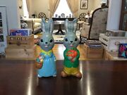 Rare Vintage Chalk Ware Easter Bunny Rabbit With Carrots And Easter Eggs