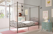 Twin Canopy Bed For Kids Girls Gray Metal Frame And Headboard Teen Child Bedroom