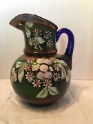 Antique Fenton Art Glass Royal Blue Cherries And Blossoms Carnival Glass Pitcher