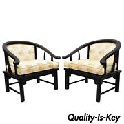Pair James Mont Horseshoe Ming Style Lounge Chairs Armchairs Century Chair Co A