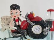 Extremely Rare Betty Boop On Big Motorcycle Bike Club Figurine Clock Statue