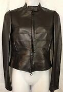 Valentino Jacket Black Hip Length Lambskin Leather Bow In Back Zips Up Size 4