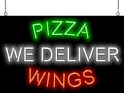 Pizza Wings We Deliver Neon Sign | Jantec | 32 X 20 |buffalo Carry Out Italian