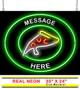 Custom Message Pizza Neon Sign | Jantec | 30 X 24 | Hand Tossed Wings Light