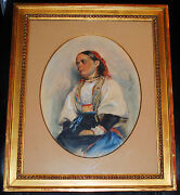 10800 Arvid Nyholm Swedish/amerian 1891 Antique Watercolor Portrait