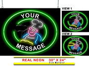 Animated Custom Message Pizza Man Neon Sign | Jantec | 30 X 24 | Delivery Wing