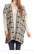 Oversized Beige Knit Long Sleeves Open Front Cardigan Sweater Blouse One Size